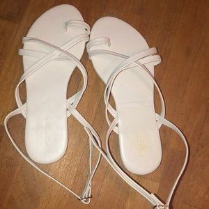 White Ankle Wrap Sandals